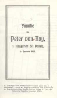 Familie des Peter von Roy, Neugarten bei Danzig, 6. Dezember 1698