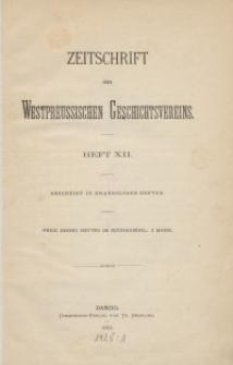 Zeitschrift des Westpreußischen Geschichtsvereins, 1884-1886, H. 12-16