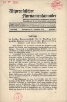 Altpreußischer Flurnamensammler, 1. Jahrgang 1929 – nr 2, Dezember