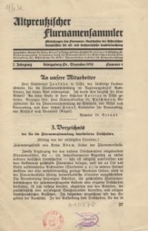 Altpreußischer Flurnamensammler, 2. Jahrgang 1930 – nr 4, Dezember