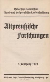 Altpreussische Forschungen, 6. Jahrgang 1929, H. 1