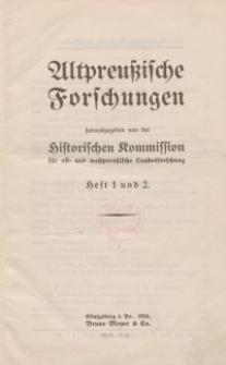 Altpreussische Forschungen, 1. Jahrgang 1924, H. 1, 2