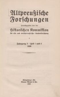 Altpreussische Forschungen, 3. Jahrgang 1926, H. 1, 2