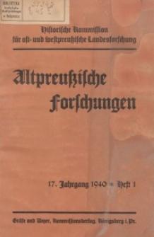 Altpreussische Forschungen, 17. Jahrgang 1940, H. 1