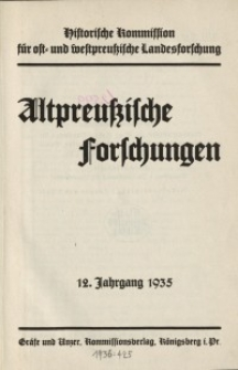 Altpreussische Forschungen, 12. Jahrgang 1935, H. 1