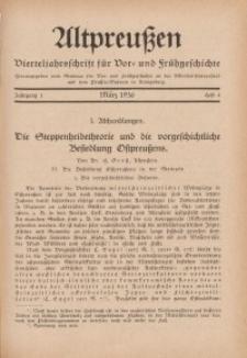 Altpreußen : Vierteljahrschrift für Vor- und Frühgeschichte, Jahrgang 1. 1935, August, Heft 2