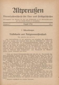 Altpreußen : Vierteljahrschrift für Vor- und Frühgeschichte, Jahrgang 2. 1936, August, Heft 1