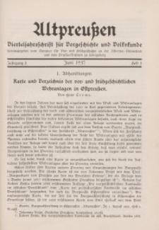 Altpreußen : Vierteljahrschrift für Vor- und Frühgeschichte, Jahrgang 2. 1937, Juni, Heft 3