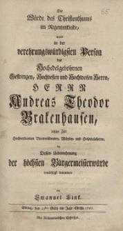 Die Würde des Christenthums im Regentenkleide, ward in der verehrungswürdigsten Person des Hochedelgebohrnen, Gestengen..