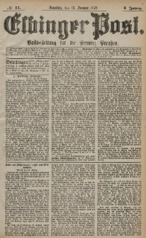 Elbinger Post, Nr. 11 Sonntag 13 Januar 1878, 5 Jahrg.