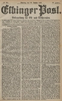 Elbinger Post, Nr. 17 Sonntag 20 Januar 1878, 5 Jahrg.
