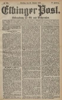 Elbinger Post, Nr. 18 Dienstag 22 Januar 1878, 5 Jahrg.