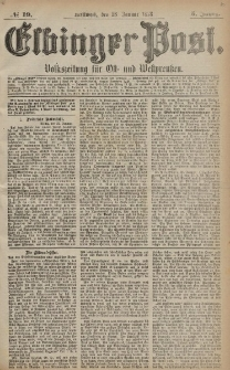 Elbinger Post, Nr. 19 Mittwoch 23 Januar 1878, 5 Jahrg.