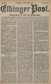 Elbinger Post, Nr. 21 Freitag 25 Januar 1878, 5 Jahrg.