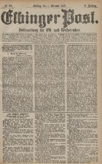 Elbinger Post, Nr. 27 Freitag 1 Februar 1878, 5 Jahrg.