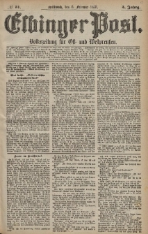 Elbinger Post, Nr. 31 Mittwoch 6 Februar 1878, 5 Jahrg.