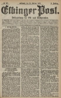 Elbinger Post, Nr. 37 Mittwoch 13 Februar 1878, 5 Jahrg.