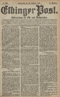 Elbinger Post, Nr. 40 Sonnabend 16 Februar 1878, 5 Jahrg.