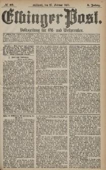 Elbinger Post, Nr. 49 Mittwoch 27 Februar 1878, 5 Jahrg.