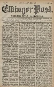 Elbinger Post, Nr. 73 Mittwoch 27 März 1878, 5 Jahrg.