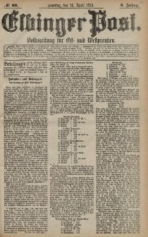 Elbinger Post, Nr. 89 Sonntag 14 April 1878, 5 Jahrg.