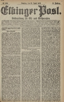 Elbinger Post, Nr. 94 Sonntag 21 April 1878, 5 Jahrg.