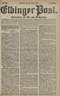 Elbinger Post, Nr. 99 Sonntag 28 April 1878, 5 Jahrg.