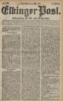Elbinger Post, Nr. 102 Donnerstag 2 Mai 1878, 5 Jahrg.