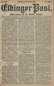 Elbinger Post, Nr. 163, Sonntag 4 Oktober 1874, 41 Jh
