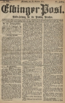 Elbinger Post, Nr. 183, Mittwoch 28 Oktober 1874, 41 Jh