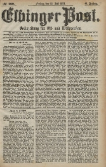 Elbinger Post, Nr. 160 Freitag 12 Juli 1878, 5 Jahrg.