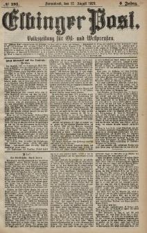 Elbinger Post, Nr. 191 Sonnabend 17 August 1878, 5 Jahrg.