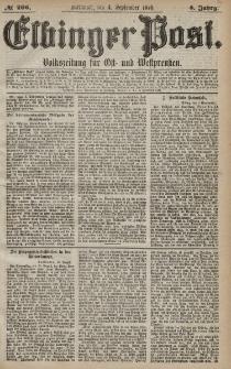 Elbinger Post, Nr. 206 Mittwoch 4 September 1878, 5 Jahrg.
