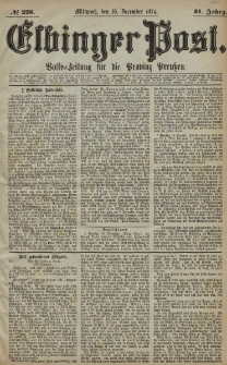 Elbinger Post, Nr. 225, Mittwoch 16 Dezember 1874, 41 Jh