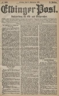 Elbinger Post, Nr. 208 Freitag 6 September 1878, 5 Jahrg.