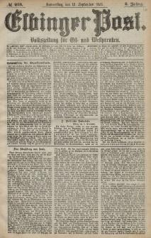 Elbinger Post, Nr. 213 Donnerstag 12 September 1878, 5 Jahrg.