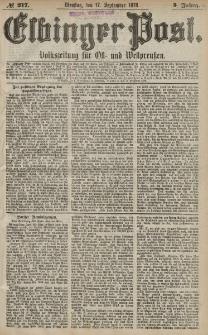 Elbinger Post, Nr. 217 Dienstag 17 September 1878, 5 Jahrg.