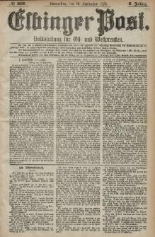 Elbinger Post, Nr. 219 Donnerstag 19 September 1878, 5 Jahrg.