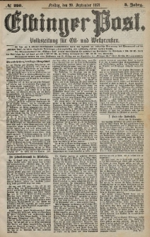Elbinger Post, Nr. 220 Freitag 20 September 1878, 5 Jahrg.