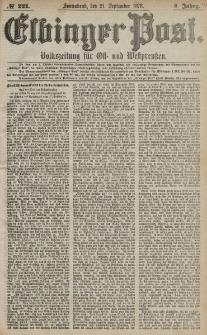 Elbinger Post, Nr. 221 Sonnabend 21 September 1878, 5 Jahrg.