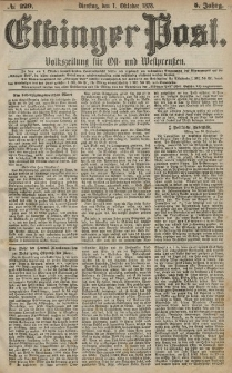 Elbinger Post, Nr. 229 Dienstag 1 Oktober 1878, 5 Jahrg.