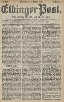 Elbinger Post, Nr. 233 Sonnabend 5 Oktober 1878, 5 Jahrg.