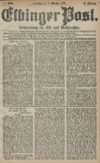 Elbinger Post, Nr. 234 Sonntag 6 Oktober 1878, 5 Jahrg.