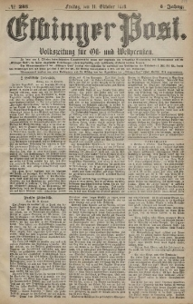 Elbinger Post, Nr. 238 Freitag 11 Oktober 1878, 5 Jahrg.