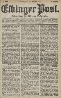 Elbinger Post, Nr. 249 Donnerstag 24 Oktober 1878, 5 Jahrg.