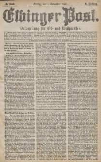 Elbinger Post, Nr. 256 Freitag 1 November 1878, 5 Jahrg.