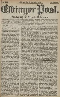 Elbinger Post, Nr. 260 Mittwoch 6 November 1878, 5 Jahrg.