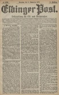 Elbinger Post, Nr. 270 Sonntag 17 November 1878, 5 Jahrg.