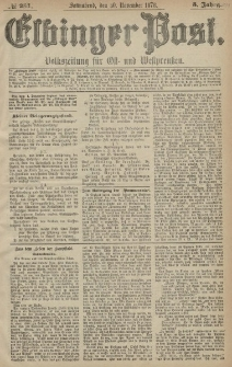 Elbinger Post, Nr. 281 Sonnabend 30 November 1878, 5 Jahrg.