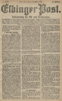 Elbinger Post, Nr. 285 Donnerstag 5 Dezember 1878, 5 Jahrg.